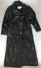 La Nouvelle Renaissance SOFT Black Leather Long Trench Coat Jacket Women's SMALL