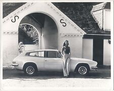 Reliant Scimitar Original b/w Press Photo side view in front of archway