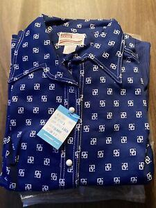 Vintage 3 Pc Pant Suit New Size 24 Blue Logo 1972 NIP