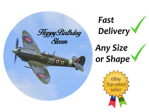 Spitfire Plane Personalised cake topper edible icing or Wafer