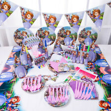 89Pcs Princess Sofia Kids Girl Party Supply Tableware Decoration Birthday Plates