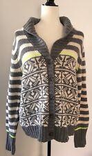 New GAP Women's Nordic Fair Isle Cardigan Sweater Gray Neon Yellow XL