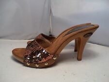 NEW Vintage Candies 1980's Style Sandals High Heels Slides Sexy Copper Sequin 7