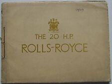 Rolls Royce 20 HP Original Luxury cord bound colour Sales Brochure 1929
