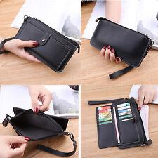 Women PU Leather Wallet Case Card Slot Handbag Zipper Purse Wristlet Strap Cover