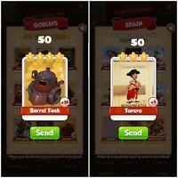50 X Barrel Tank & 50 X Torero Coin Master Cards