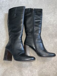 TU Ladies Black Zip Up High Heeled Boots Size 7 some marks