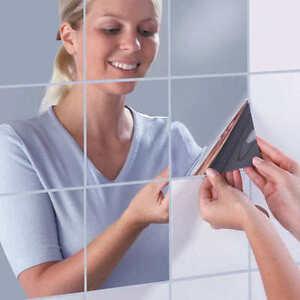 9pcs Mirror Tile Wall Sticker 3D Decal Mosaic Room Decor Stick On Modern Art New