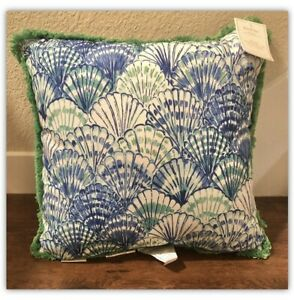 """New Pottery Barn Outdoor Pillow Lilly Pulitzer Oh Shello Fringe Blue Green 20"""""""