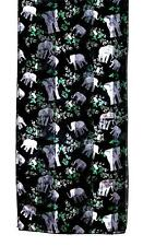 SCARF Long Black Background Gray & Green JUNGLE ELEPHANTS