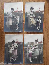 R&L Postcard: 4 Greeting Card, Galmour Lady, Young Boy, Flowers, 62589/2-3-5-6
