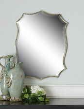 "NEW MODERN SHAPELY 30"" OXIDIZED NICKEL THIN FRAME BEVELED WALL VANITY MIRROR"