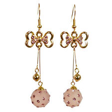 Boucles d'oreilles plaqué or cristal Swarovski noeud papillon boules doré rose