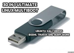 30 in 1 Multiboot Linux 32GB Live USB Ubuntu Hirens Puppy Bodhi TrueOS Slax more