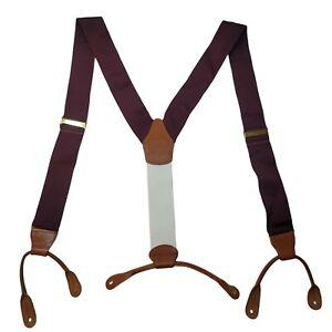 Brooks Brothers Mens Maroon Solid Nylon Leather Suspenders Size R Adjustable