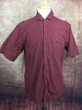 Woolrich 6659 Red Mini Plaid 100% Cotton Short Sleeve Shirt Men's Medium