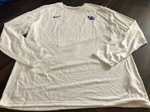 New Nike Mens UK Kentucky Wildcats Long sleeve Shirt Size XL White Blue