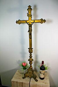 """XL 40.5"""" Altar bronze copper church crucifix putti angel rare"""