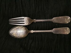 Antique Russian Harbin Solid Silver 84 engraved fork and spoon approx 95 gm