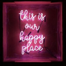 """New This Is Our Happy Place Pink Wall Decor Acrylic Neon Light Sign 19""""x15"""""""