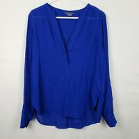 Vince Womens Top Size 6 Blue V Neck Long SLeeve Semi Sheer Blouse High Low Shirt