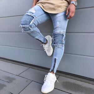 Men Stretch Zipper Ripped Skinny Biker Jeans Destroyed Slim Fit Denim Pants Blue
