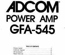 ADCOM GFA-545 Schematic Diagram Service Manual Schaltplan Schematique