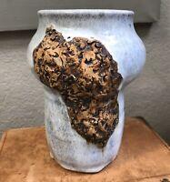 Textured Vase Signed Studio Pottery Piece Blue Glaze Africa Stoneware Art Brown