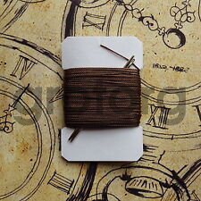 20m BROWN VERY STRONG LEATHER SEWING THREAD 0,75mm THICK PLUS 2 BLUNT NEEDLES