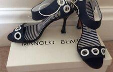 Beautiful Manolo Blahnik Navy & White Shoes Size 37.5 Uk 4.5