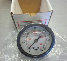 """Winters pressure gauge 10-300 PSI liquid filled 63MM 1/4"""" NPT back conn PFQ907"""