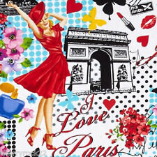 Timeless Treasures PARIS PIN-UPS Floral Parisian Pin Up Girls Fabric - Valentine