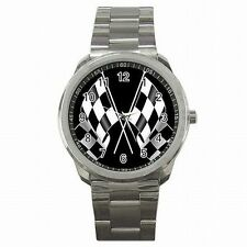 Racing Checkered Flag Nascar Indy Race Fan Stainless Steel Watch