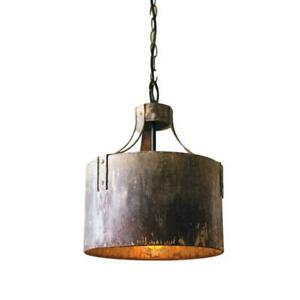 Industrial Round Rustic Metal Pendant Light Weathered Finish Kitchen Island