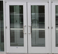 WIDE STILE ALUMINUM STOREFRONT DOORS SILVER 6-0 x 7-0 WITH GLASS