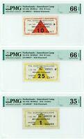 NETHERLANDS 1944 AMERSFOORT CONCENTRATION CAMP HOLOCAUST 10, 25 CENT, GULDEN PMG