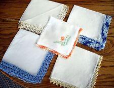 Vintage Handkerchief Hankies White w/ Embroidered Edges ~ Set of 5 ~