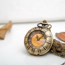 Antique Sun tea color surface bronze steampunk quartz pocket watch necklace.