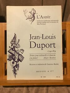 Jean-Louis Duport Sonate pour violoncelle et piano Boulay partition éd. Heugel