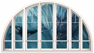 Huge 3D Arched Window Fantasy Serpent Under sea View Wall Stickers Film Art 504