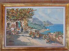 Big oil painting on canvas by Carlo Ciappa, Italy (XIX-XX) Coastal Scene Capri