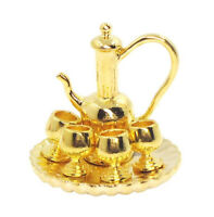1:12 Dollhouse Miniature Tableware Metal Wine Coffee Tea Cup Pot Tray Golden