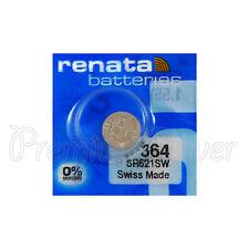 1 x Renata 364 Silver oxide battery 1.55V SR621W SR60 Watch SR65 0% Mercury