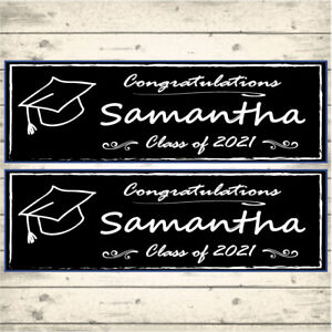 2 PERSONALISED GRADUATION BANNERS - ANY NAME & ANY YEAR OR ANY MESSAGE