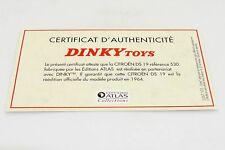 DINKY TOYS ATLAS CERTIFICAT / CITROËN DS 19 #530