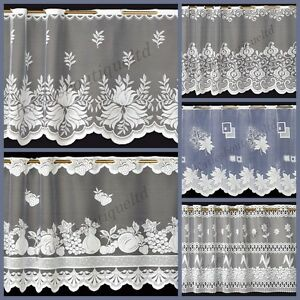 Cafe Net Curtain Jacquard Various Patterns Ready To Hang Up Sold By The Metre
