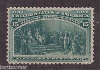 US Scott #238 15c Dark Green Columbian Exposition Issue Stamp Mint NH F-VF