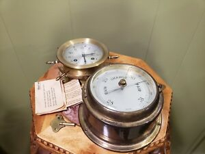 Schatz Ships 8 Day 7 Jewels Clock With Key and Vintage German Barometer