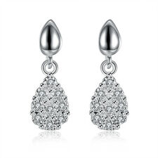 Hotsale 925 Silver Plated Drop Earrings Swarovski Elements Crystal Heart Pandent
