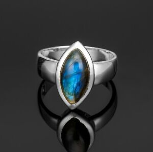 Beautiful 925 Sterling Silver Ladies Labradorite Marquise Ring Jewellery Gift